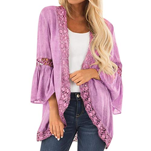 3/4 Ribbed Henley Sleeve Sweater - JESPER Women's Loose Casual 3/4 Bell Sleeve Lace Kimono Cardigan Purple