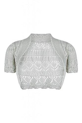 Forever Womens Short Sleeves Knitted Bolero Crochet Cardigan Shrug Top (ML = 10-12, Grey)