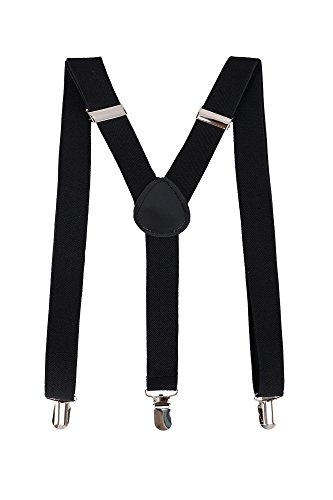 Livingston Unisex Y-Back Clip-On Adjustable Elastic Suspenders, Black