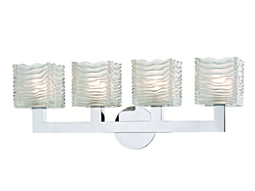 Hudson Valley Lighting Hudson Valley 5444-PC Contemporary Modern Four Light LED Bath Bracket from Sagamore Collection in Chrome, Pol. Nckl.Finish 4, Aged Brass Finish