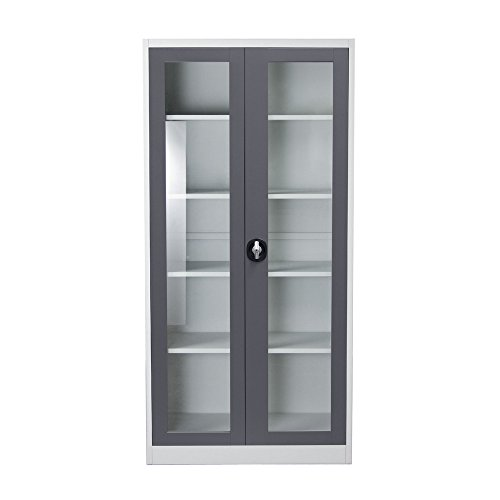 - 2-Door 5-Shelf Bookcase with Tempered Glass Door Front & Key Lock Entry by Diamond Sofa- # FCG5DG