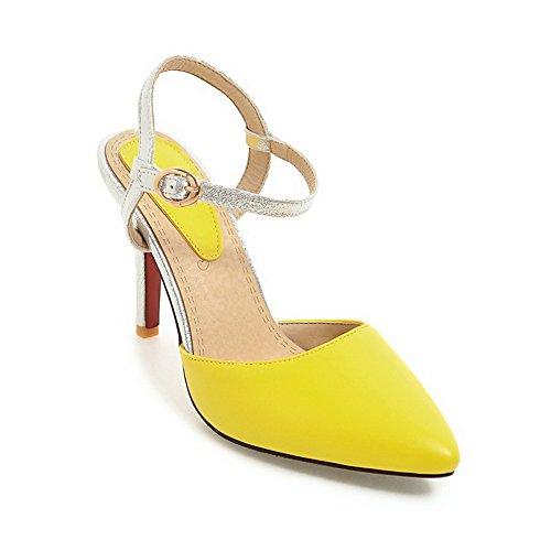BalaMasa Womens Sandals High-Heel Huarache Urethane Sandals ASL04755 Yellow JhJ5H5