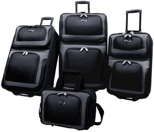U.S Traveler New Yorker Lightweight Expandable Rolling Luggage 4-Piece Suitcases Sets - Black by Traveler's Choice