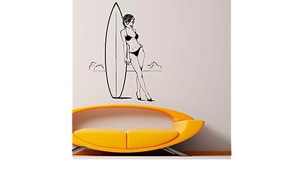 Jasonding Hermosa Chica Surfista Etiqueta De La Pared Pegatina Tabla De Surf Pvc Pegatinas De Pared Para Sala De Estar Dormitorio Decoración 56 * 80 Cm: ...