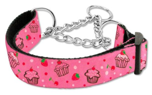 Mirage Pet Products Cupcakes Nylon Ribbon Martingale Collar for Pets, Large, Bright Pink