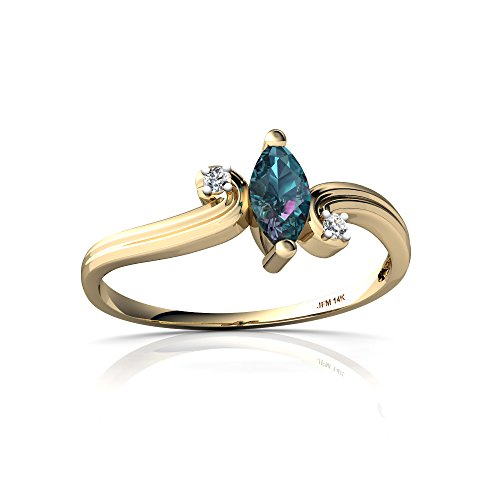 - 14kt Yellow Gold Lab Alexandrite and Diamond 6x3mm Marquise Ocean Waves Ring - Size 6