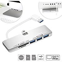Cateck Ultra-thin Premium Aluminum 3-Port USB 3.0 Hub with SD/TF Card Reader Combo Exclusively Designed For iMac Slim Unibody (Upgraded Version)