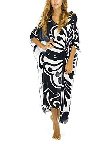 Bsubseach Women Black Print Batwing Sleeve Kaftan Beach Dress Loose V Neck Bathing Suit Cover Up Beachwear