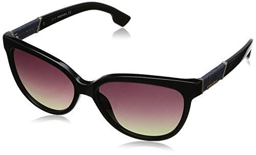 Diesel Cateye Sunglasses in Shiny Black Gradient Brown DL0102 01F - For Men Sunglasses Diesel