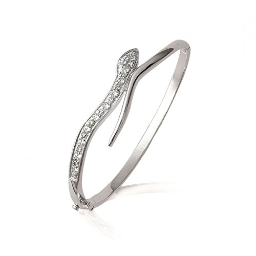 MARY JANE - Bracelet Argent Femme - Diam:62mm / Larg:62mm - Argent 925/000 rhodié-Zirconium (Serpent)