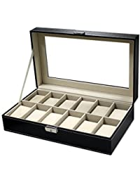 12 Mens Large Watch Box Black Pu Leather Display Glass Top Jewelry Case Organizer Box