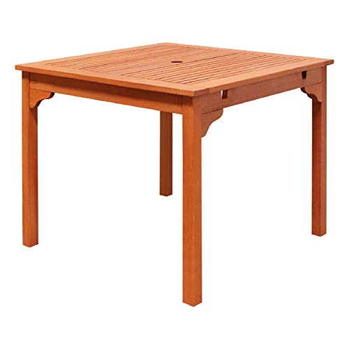 Table Stacking Outdoor - VIFAH V1104 Ibiza Outdoor Wood Stacking Table, Natural Wood Finish, 35-1/2 by 35.4 by 29-1/2-Inch