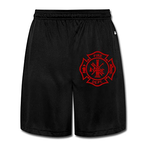 Fire Cotton Shorts - MH08OMG Firefighter Mens Casual Loose-Fit Training Jersey Short Pants
