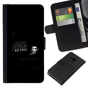 NEECELL GIFT forCITY // Billetera de cuero Caso Cubierta de protección Carcasa / Leather Wallet Case for HTC One M9 // ANÓNIMO YO SOY LIBRE