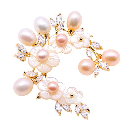 JYX Pearl Shell Flower Brooch White and Purple Freshwater Pearl Brooches Pins Bouquet Jewelry for Women - Shell Brooch