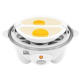 Elite Cuisine EGC-007 Maxi-Matic Egg Poacher & Egg Cooker with 7 Egg Capacity, White 136 Dimensions: 7L x 5.5W x 6.25H in. Holds up to 7 eggs Automatic off and built in cooking timer