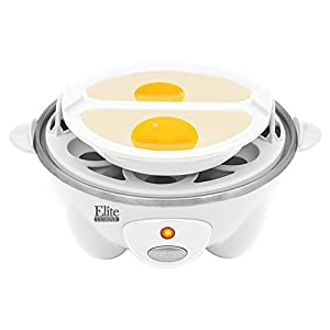 Elite Cuisine EGC-007 Maxi-Matic Egg Poacher & Egg Cooker with 7 Egg Capacity, White
