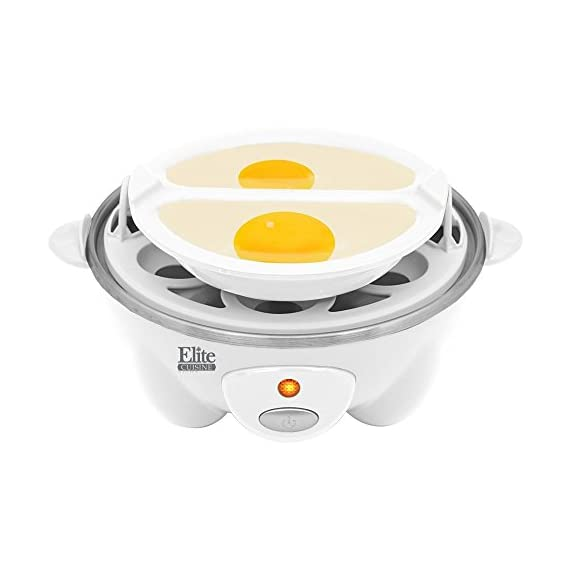 Elite Cuisine EGC-007 Maxi-Matic Egg Poacher & Egg Cooker with 7 Egg Capacity, White 1 Dimensions: 7L x 5.5W x 6.25H in. Holds up to 7 eggs Automatic off and built in cooking timer