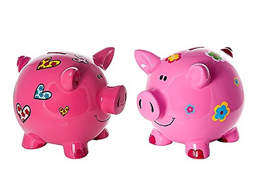 Flower Pink Bank (Mousehouse Gifts Set 2 Large Big Pink Pig Money Box Toy Coin Savings Piggy Bank with Hearts and Flowers for Kids Adults Children Present Gift for Girls)