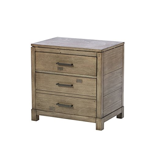 2 Drawer Nightstand Brown Finished Handles Light Wire Brush Finish French and English Dovetail Drawer Construction Felt Lined Top Drawer