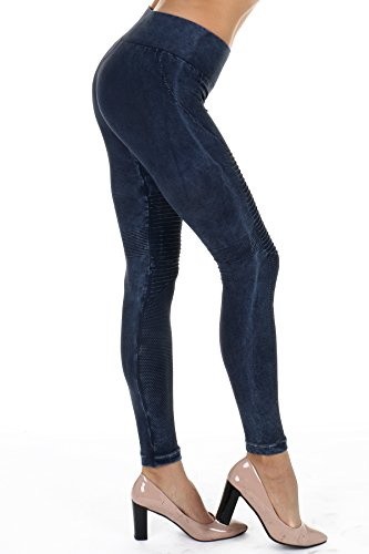 Denim Vintage Leggings (NIKIBIKI Premium Vintage Leggings - Super Soft - Capri & Full Length - Non See Thru - Made in USA (One Size, Nb7129 Denim))