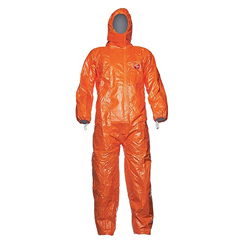DuPont - TYFCHA5TORMD002500 - Hooded Coverall with Elastic Cuff, Orange, M, Tychem (Orange Hooded Coverall)