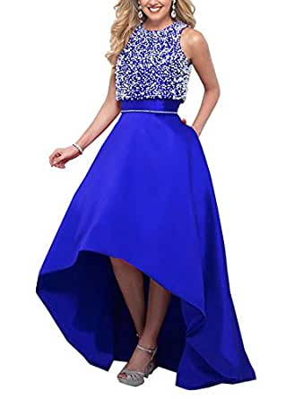 NexFex 2018 New Evening Dress With Pearls Backless Satin Ball Gowns Prom Dresses For Women