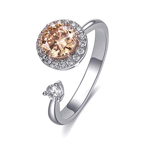 Fonsalette Anxiety Ring Fidget Ring Cubic Zirconia Spinner Ring Adjustable Rings for Women with Swarovski Crystals Worry Band Rings Fashion Cuff Rings
