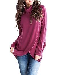 Women s Long Sleeve Asymmetrical Hoodies Wrap Pullover Sweatshirt Coats  with Pockets S-XXL 5be7874ef