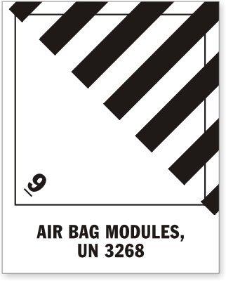 UN 3268 Air Bag Modules, Paper Labels, 500 Labels / Roll, 4