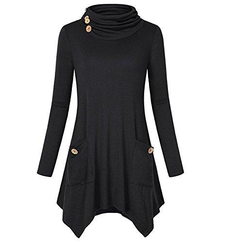 XIU*RONG Falda Irregular Con Mangas Largas En Un Bolsillo De La Mujer black