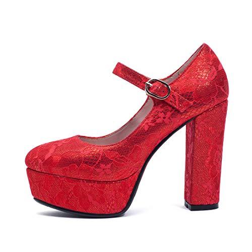 talon paillettes rouge mariage chaussures de haut de boucle Vitalo plateforme élégante sangle Decollete bloqué avec Low fermé q4wwX6A