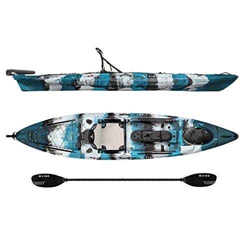 Vibe Kayaks Sea Ghost 130 | 13ft Angler - Single Person, Sit On Top Fishing Kayak w/Paddle & Dual Position Hero Seat ()
