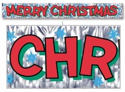 Metallic Merry Christmas Fringe Banner 8in.x 5ft. Pkg/12