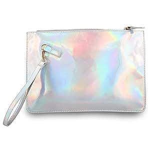 Amazon.com: Moda Mujer holográfico bolsa de embrague cartera ...