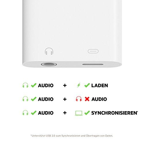 Belkin RockStar 3,5-mm-Klinken-Audio- und Ladeadapter (ermöglicht gleichzeitige Audioübertragung und Laden/Synchronisieren, MFI-zertifiziert, geeignet für iPhone 6s/6s Plus, iPhone SE, iPhone7/7Plus