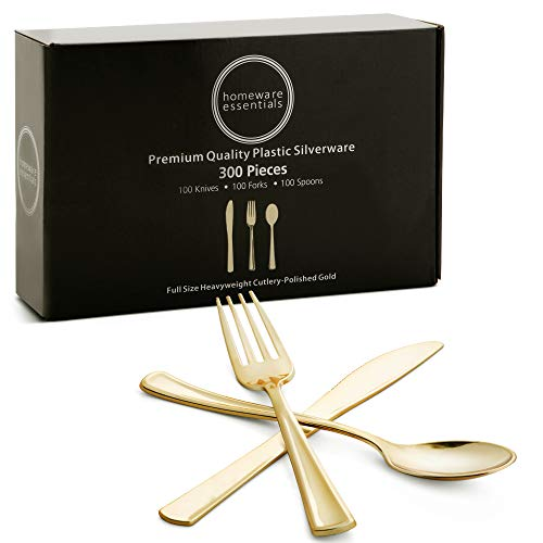 300 Pc Gold Plastic Silverware Set, 100 Disposable Knives, Forks, Spoons - Elegant, Polished Dinnerware Eating Utensils for Weddings, Parties, Baby Showers - Stylish, Heavy Duty