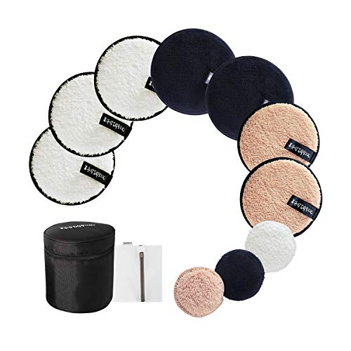 Reusable Makeup Remover Pads: 7-Pack (3.7inch) Coming with Laundry Bag, Travel Bag and 3 Eye Pads - Soft Chemical-free Facial Cotton Pads- Perfect for Facial Cleansing]()