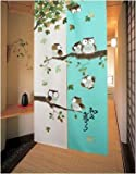 MSFREN Japanese Noren Doorway Curtain Tapestry with Owls Green For Sale