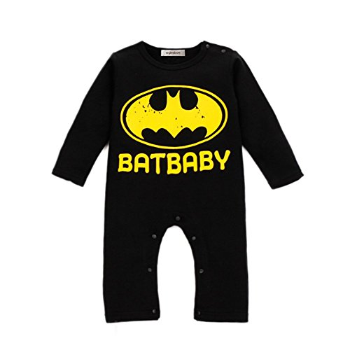 [StylesILove Batman Super Hero Baby Boy Romper (12-18 Months, Black)] (Batman Outfit Baby)