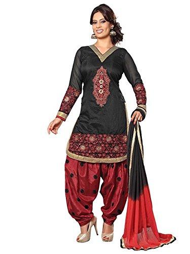 Vibes Women's Pure Cotton Straight Fit Un-Stitched Salwar Kameez Black, Free Size
