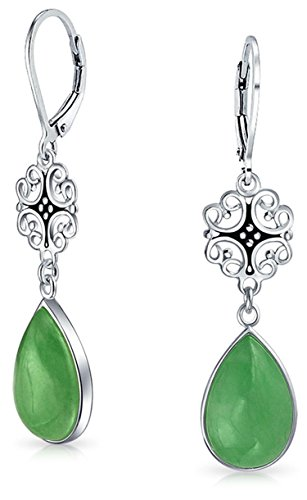 Dyed Green Jade Filigree Teardrop Pear Shaped Good Fortune Lever Back Dangle Earrings For Women 925 Sterling Silver