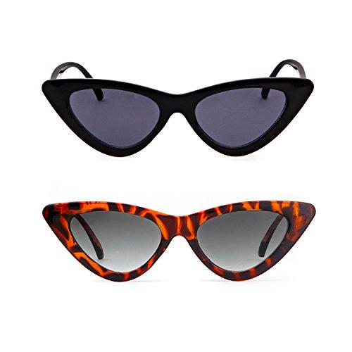 de de para Kurt 1 sol ojo Cobain retro Pcs protección sol mujeres niñas de Tortoise Black amp; gafas estilo Gafas de gato vintage Gafas de 2 ADEWU wH0zxpIqx