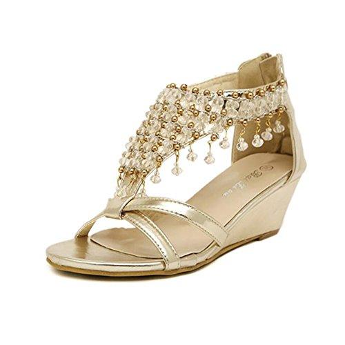 donna Per Silver Similpelle Casual Crystal Platform Summer da Scarpe Gold Heel Gold Wedge SHINIK Bqx6pUwn