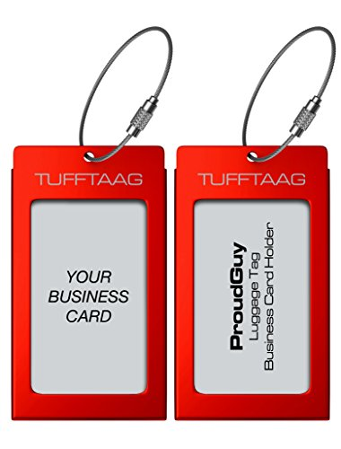 Card Border Calling Set - Luggage Tags Business Card Holder TUFFTAAG PAIR Travel ID Bag Tag - Scarlet