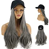 Fine Baseball Cap with Hair Synthetic Hats with Hair Attached for Women Black Hat with Hair Long Wavy Hair for Women Daily Party Use (Gray)