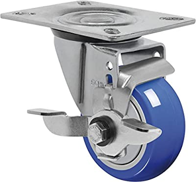 "Schioppa L12 Series, GL 312 TP SL, 3 x 1-1/4"" Swivel Caster with Wheel Lock Brake, Non-Marking Extra Soft Thermoplastic Rubber Wheel, 150 lbs, Plate 3-1/8 x 4-1/8"" (Bolt Holes 3-1/8 x 2-1/4"")"