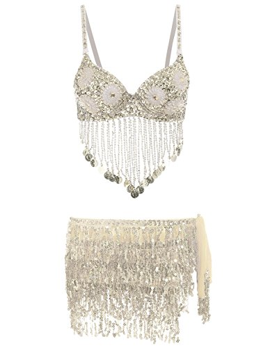 Glamaker Women's 2 Pieces Rhinestone Belly Dance Bra Top Sequin Tassel Mini Skirts Set Silver ()