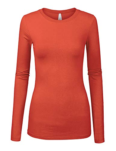 Womens Basic Light Rust Colors Slim Fit Long Sleeve Round Neck Top (1100-LIGHT Rust-L)