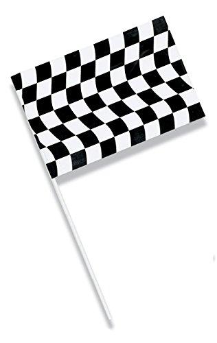 "Creative Converting Plastic Jumbo Flag, 23 x 36"", Black and White Check"